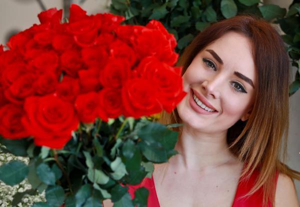 Aşk gülleri vitrinde