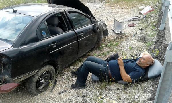 Otomobil takla attı, sürücü sıyrıklarla kurtuldu