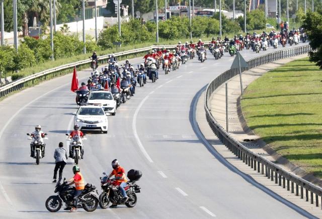 Antalya'da 300 Motorcu Jandarma İçin Kortej Oluşturdu