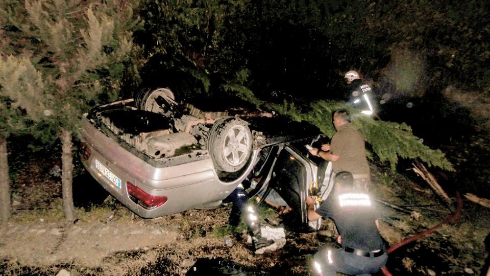 Kaza Yapan Araçtan Ormana Sıçrayan Yangın Söndürüldü
