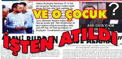 """BÜYÜKŞEHİR ARİF ORTA""""YI  İŞTEN ATTI"""