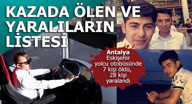 Antalya otobüsünde ölen ve yaralananların isimleri