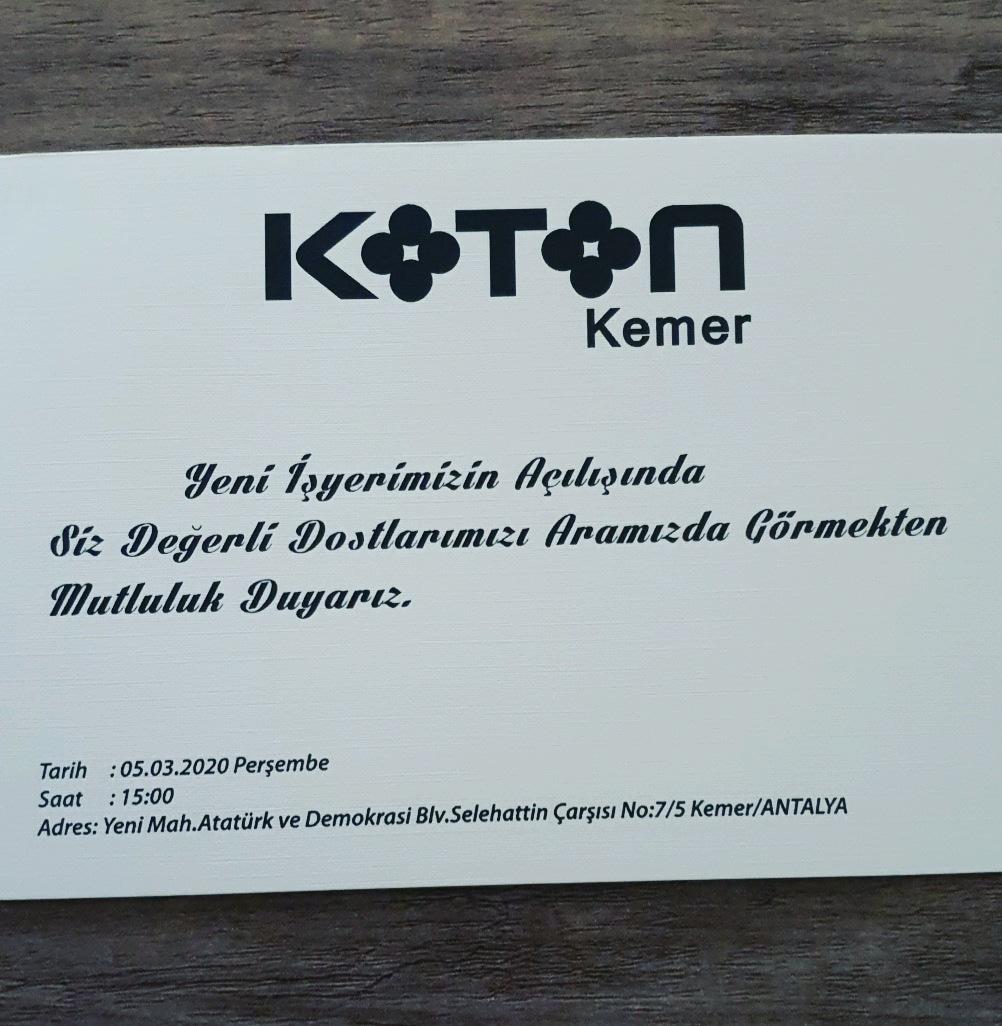 Kemer Koton mağazası hizmete girdi.