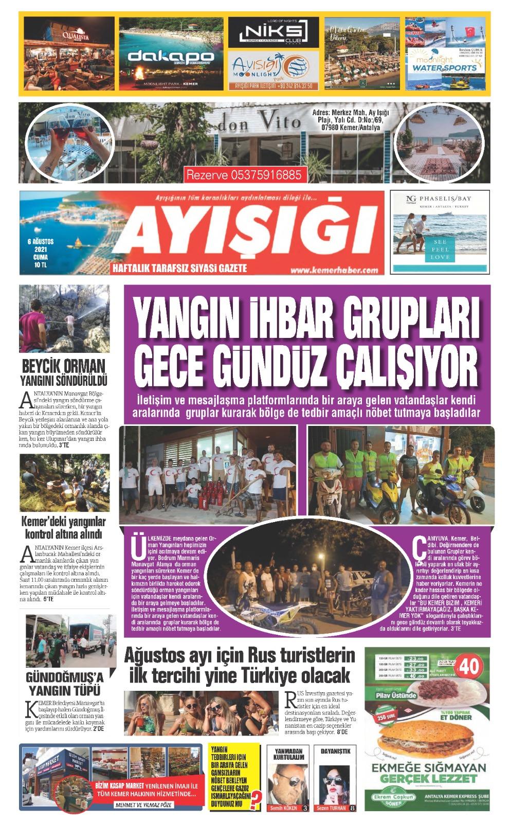 06 Ağustos 2021 Cuma Ayışığı Gazetesi